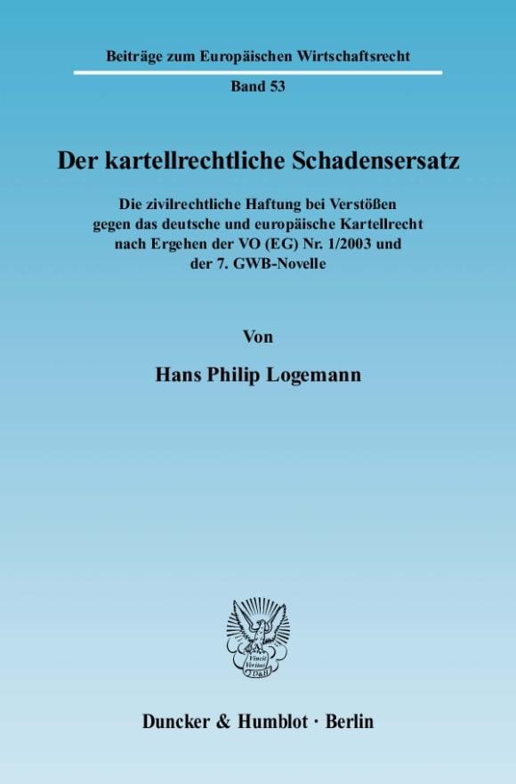 Cover Der kartellrechtliche Schadensersatz