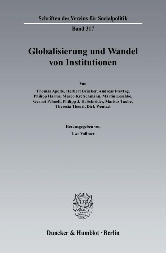 Cover Globalisierung und Wandel von Institutionen