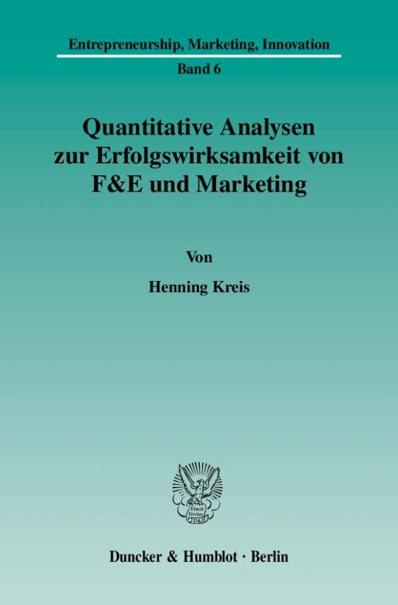 Cover Quantitative Analysen zur Erfolgswirksamkeit von F&E und Marketing
