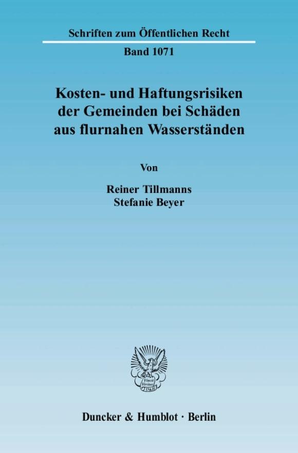 Cover Kosten- und Haftungsrisiken der Gemeinden bei Schäden aus flurnahen Wasserständen
