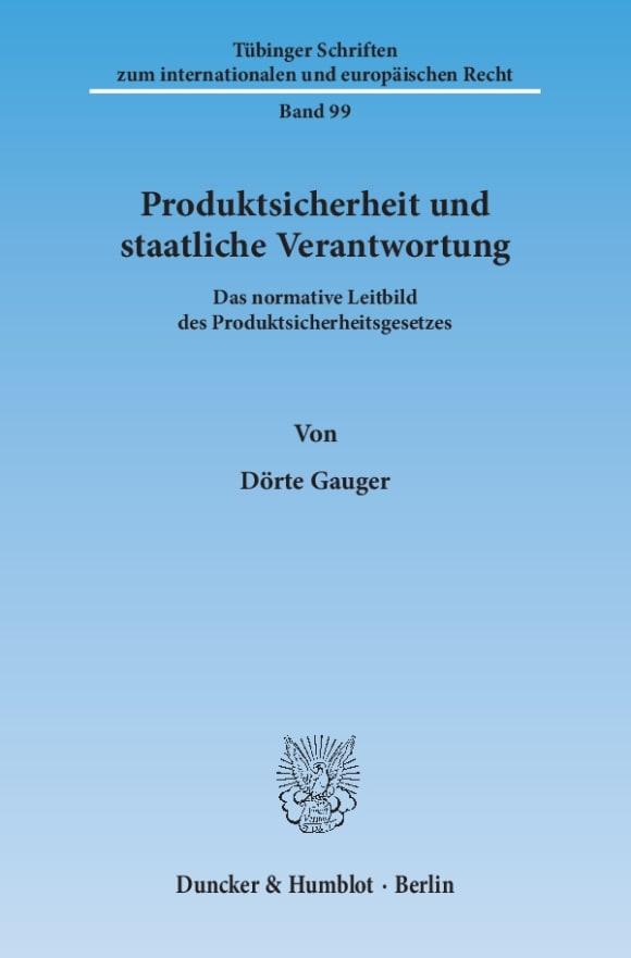 Cover Produktsicherheit und staatliche Verantwortung