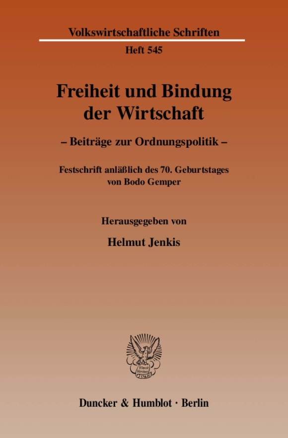 Cover Freiheit und Bindung der Wirtschaft