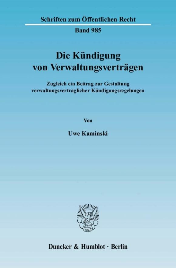 Cover Die Kündigung von Verwaltungsverträgen