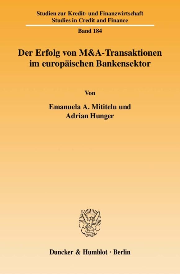 Cover Der Erfolg von M&A-Transaktionen im europäischen Bankensektor