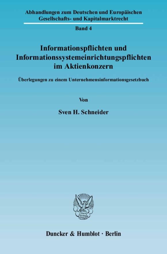 Cover Informationspflichten und Informationssystemeinrichtungspflichten im Aktienkonzern