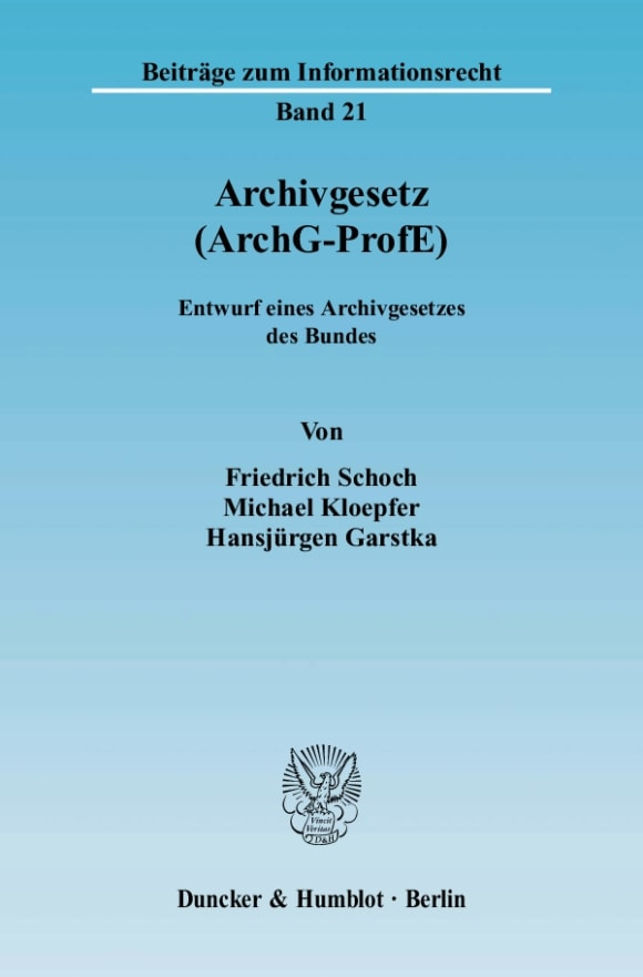 Cover Archivgesetz (ArchG-ProfE)