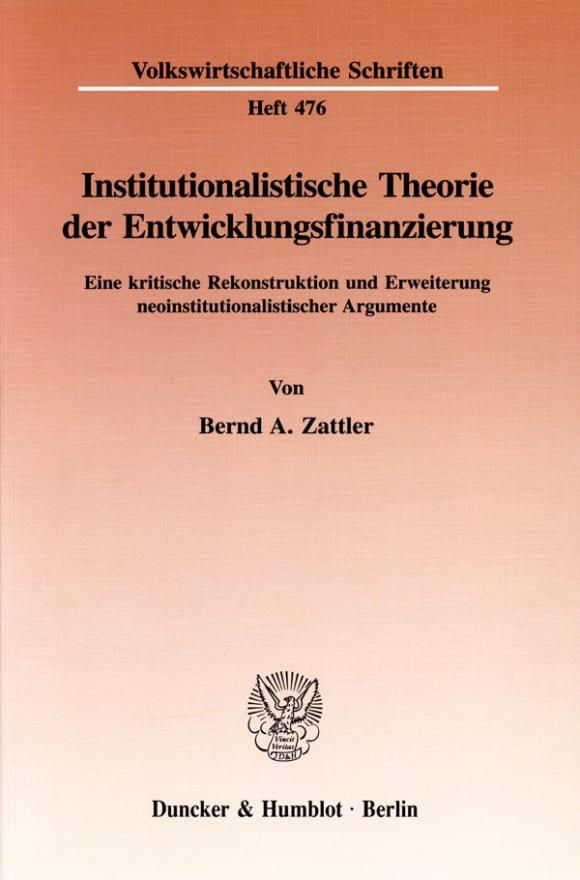 Cover Institutionalistische Theorie der Entwicklungsfinanzierung