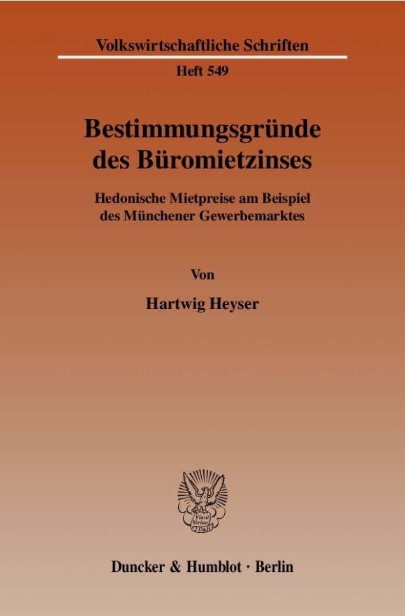 Cover Bestimmungsgründe des Büromietzinses