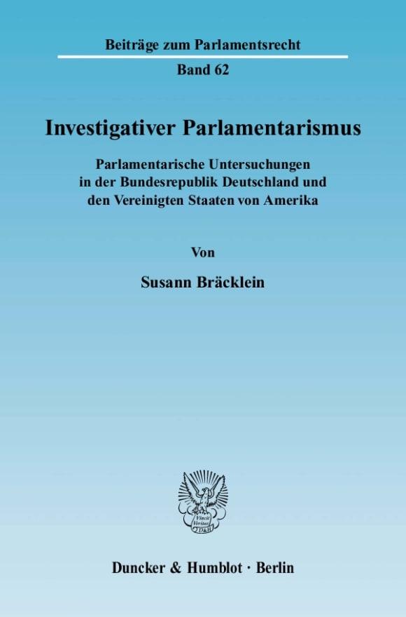 Cover Investigativer Parlamentarismus