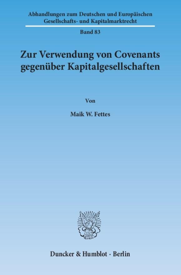 Cover Zur Verwendung von Covenants gegenüber Kapitalgesellschaften