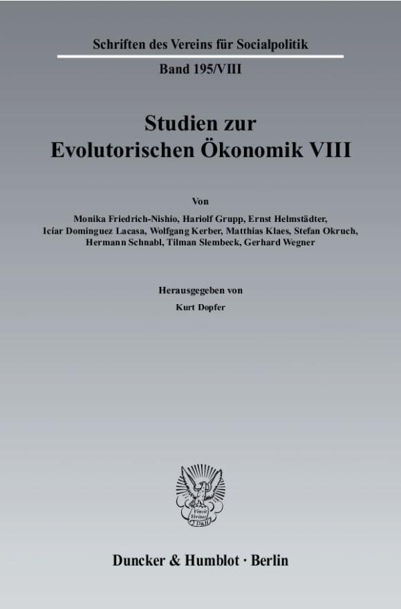 Cover Studien zur Evolutorischen Ökonomik VIII