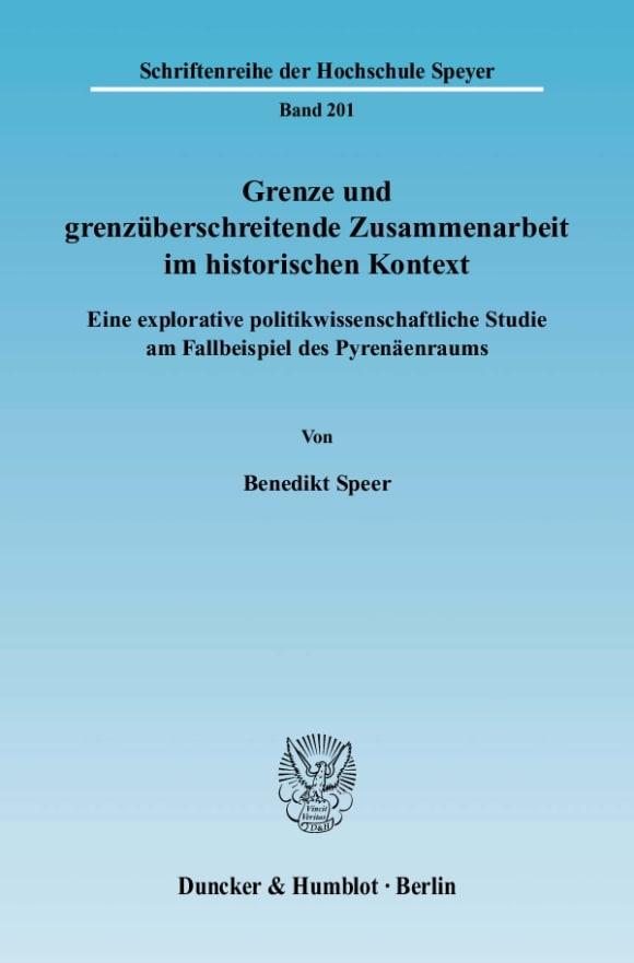 Cover Grenze und grenzüberschreitende Zusammenarbeit im historischen Kontext