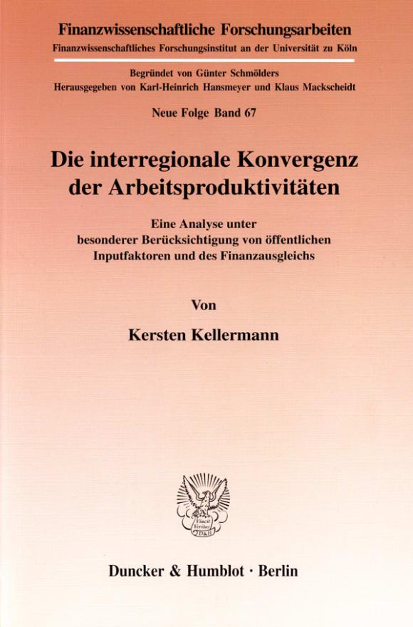Cover Die interregionale Konvergenz der Arbeitsproduktivitäten