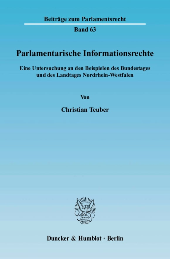 Cover Parlamentarische Informationsrechte