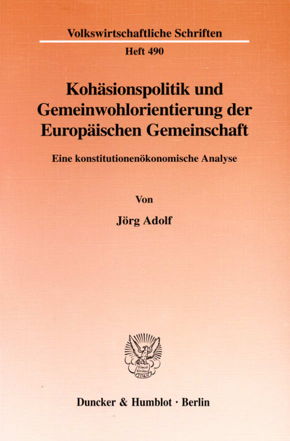 Cover Kohäsionspolitik und Gemeinwohlorientierung der Europäischen Gemeinschaft