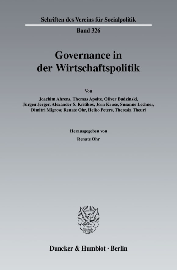 Cover Governance in der Wirtschaftspolitik