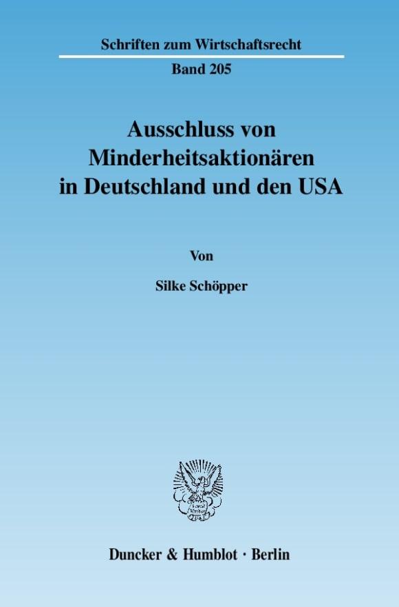 Cover Ausschluss von Minderheitsaktionären in Deutschland und den USA