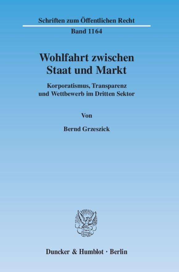 Cover Wohlfahrt zwischen Staat und Markt