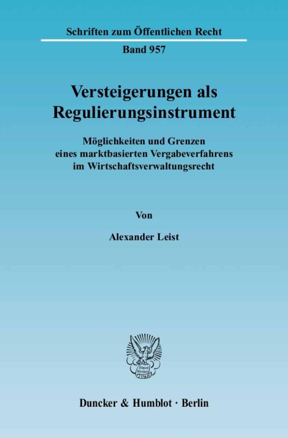 Cover Versteigerungen als Regulierungsinstrument