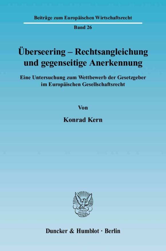 Cover Überseering - Rechtsangleichung und gegenseitige Anerkennung