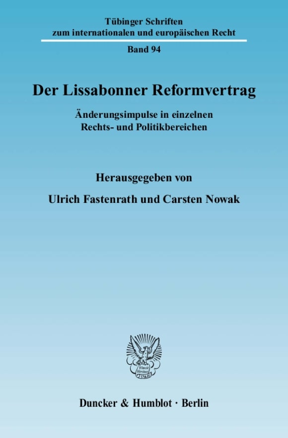 Cover Der Lissabonner Reformvertrag