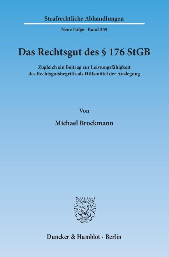 Cover Das Rechtsgut des § 176 StGB