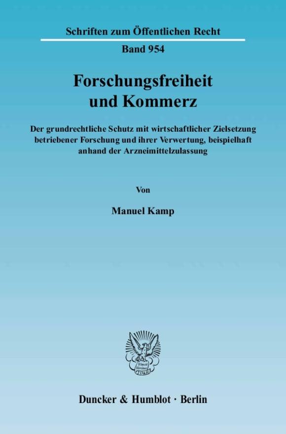 Cover Forschungsfreiheit und Kommerz