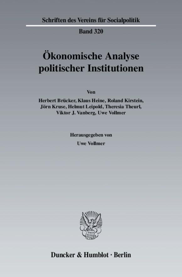 Cover Ökonomische Analyse politischer Institutionen