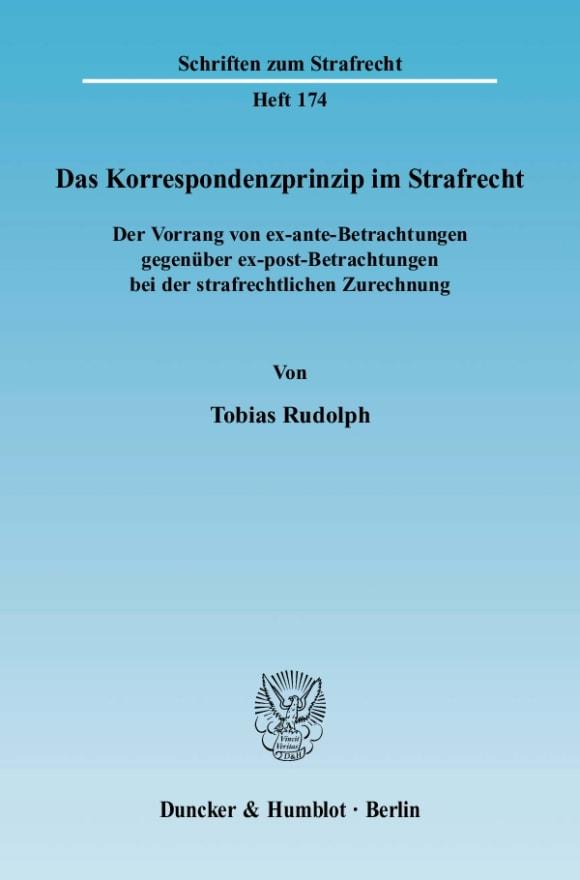 Cover Das Korrespondenzprinzip im Strafrecht