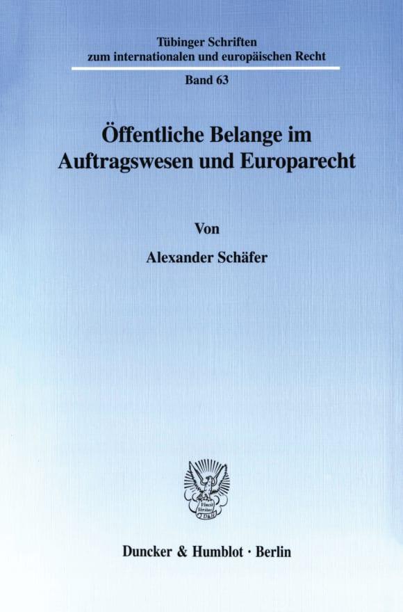 Cover Öffentliche Belange im Auftragswesen und Europarecht