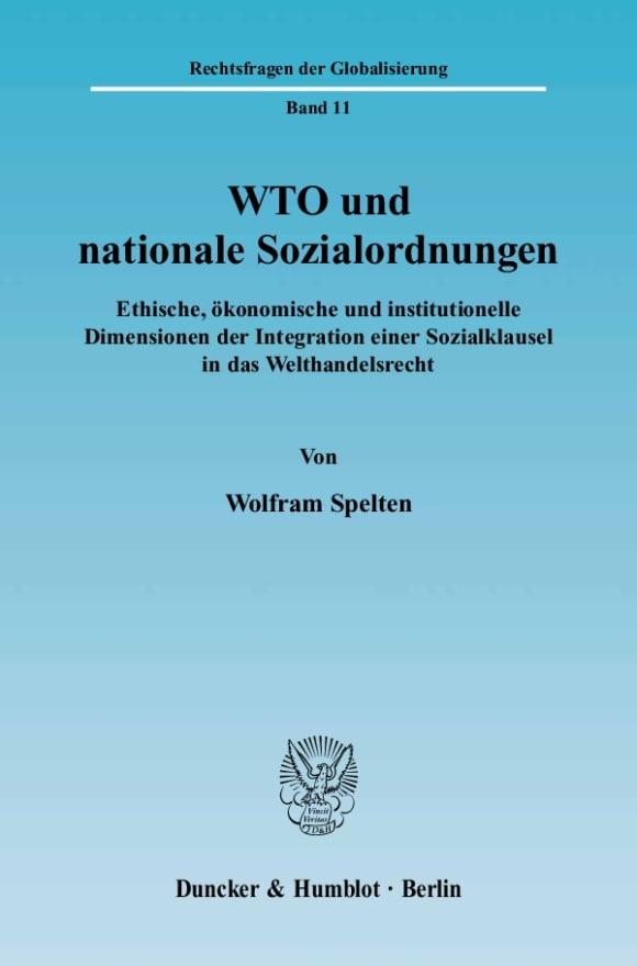 Cover WTO und nationale Sozialordnungen