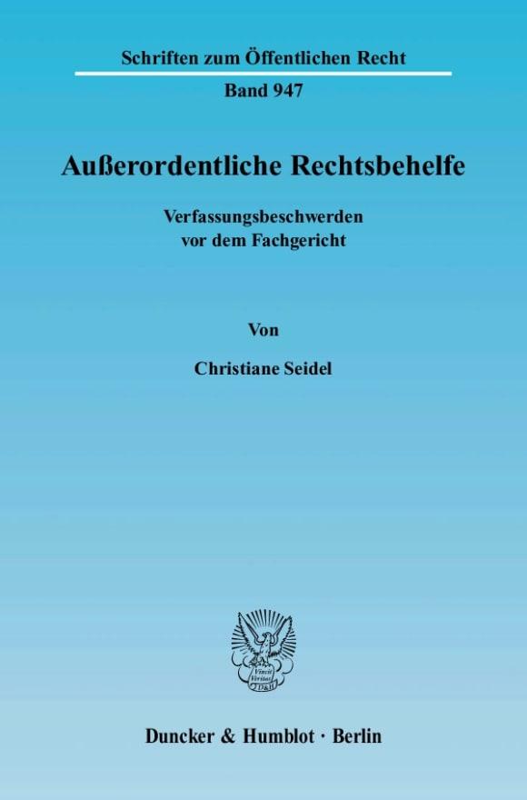 Cover Außerordentliche Rechtsbehelfe