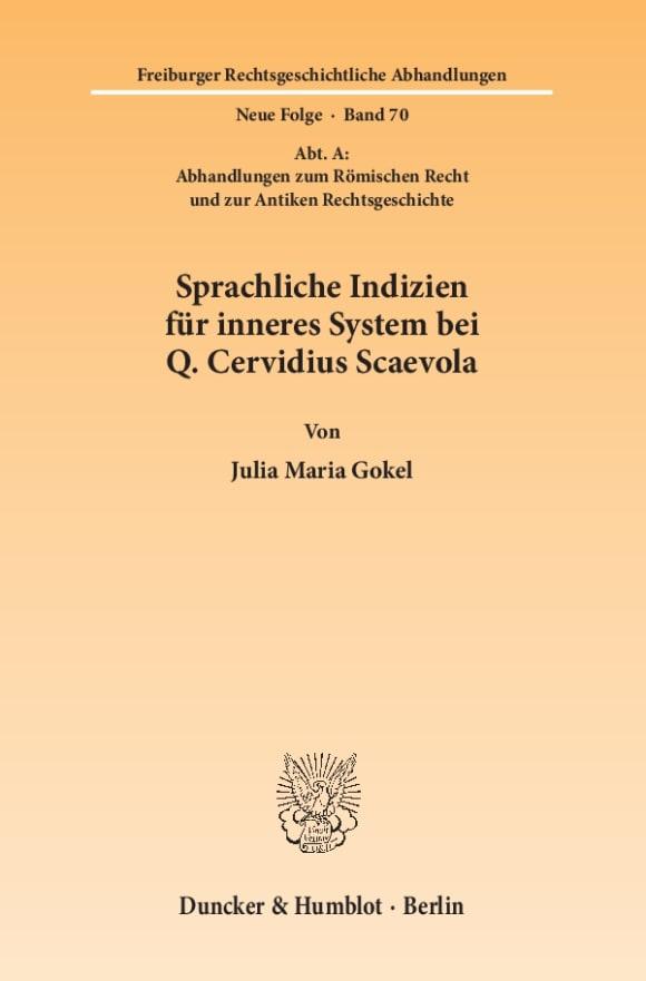Cover Sprachliche Indizien für inneres System bei Q. Cervidius Scaevola