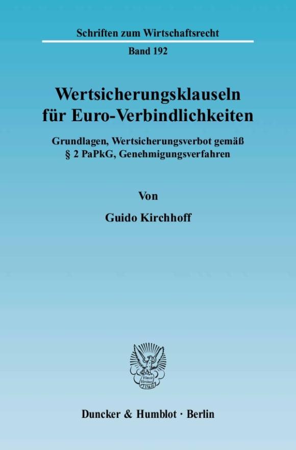 Cover Wertsicherungsklauseln für Euro-Verbindlichkeiten