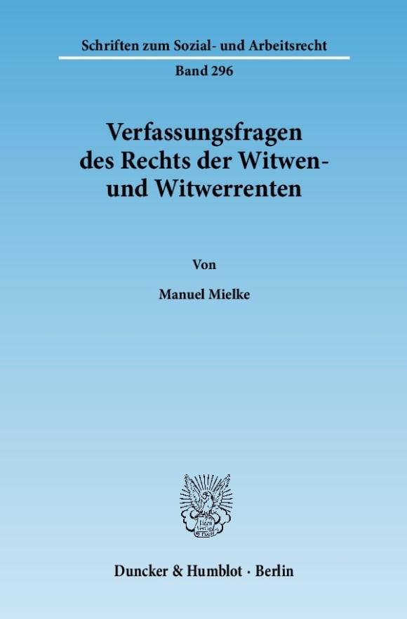 Cover Verfassungsfragen des Rechts der Witwen- und Witwerrenten