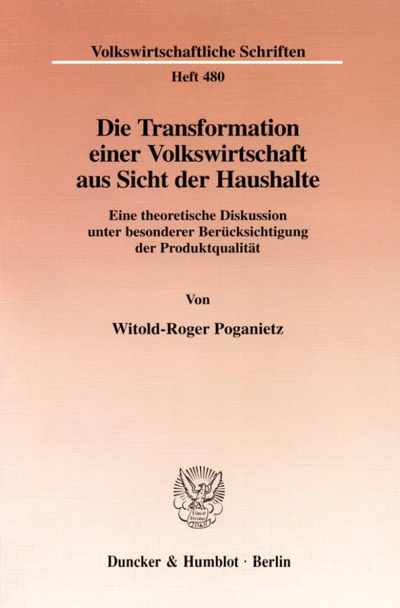 Cover Die Transformation einer Volkswirtschaft aus Sicht der Haushalte