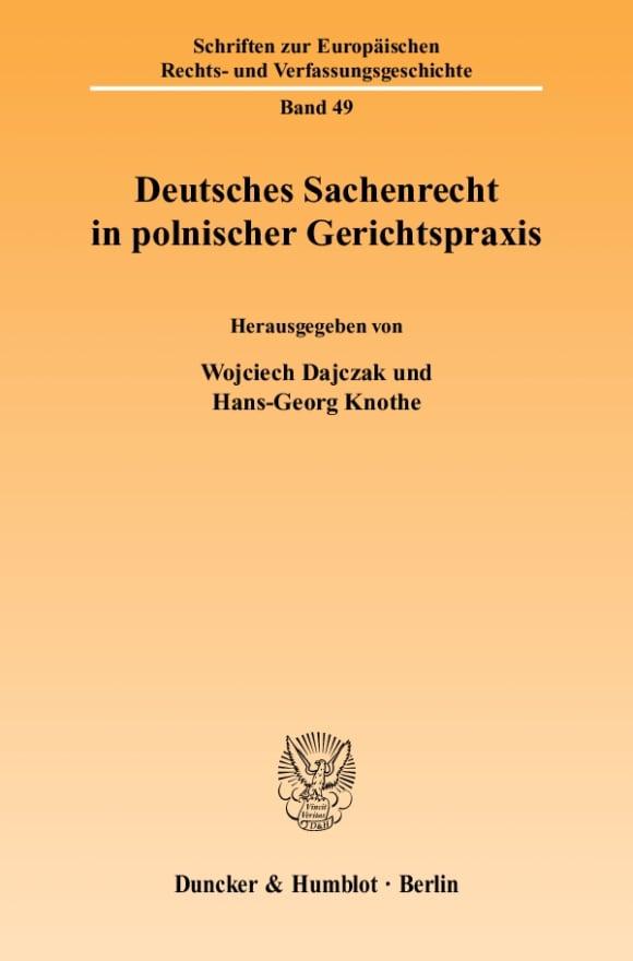 Cover Deutsches Sachenrecht in polnischer Gerichtspraxis