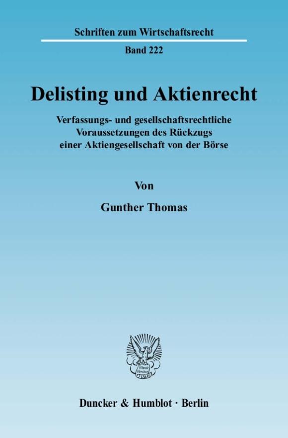 Cover Delisting und Aktienrecht