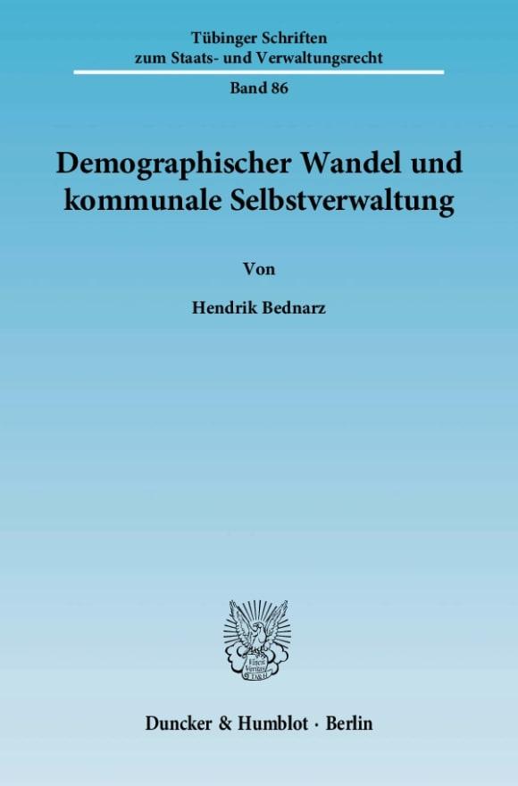 Cover Demographischer Wandel und kommunale Selbstverwaltung