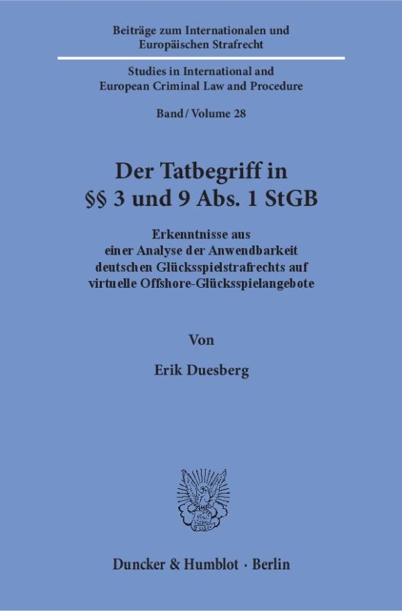Cover Der Tatbegriff in §§ 3 und 9 Abs. 1 StGB