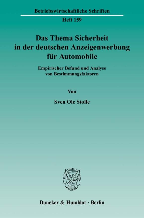 Cover Das Thema Sicherheit in der deutschen Anzeigenwerbung für Automobile