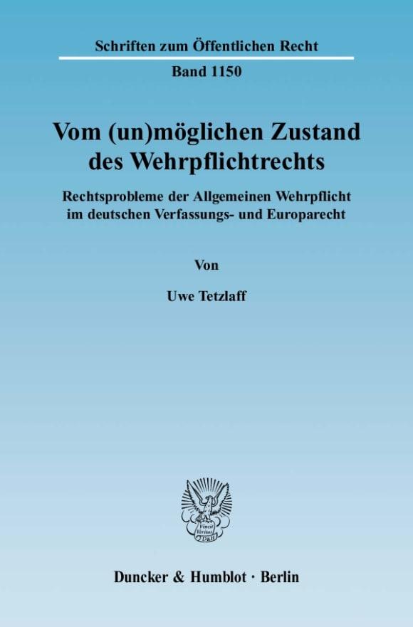 Cover Vom (un)möglichen Zustand des Wehrpflichtrechts