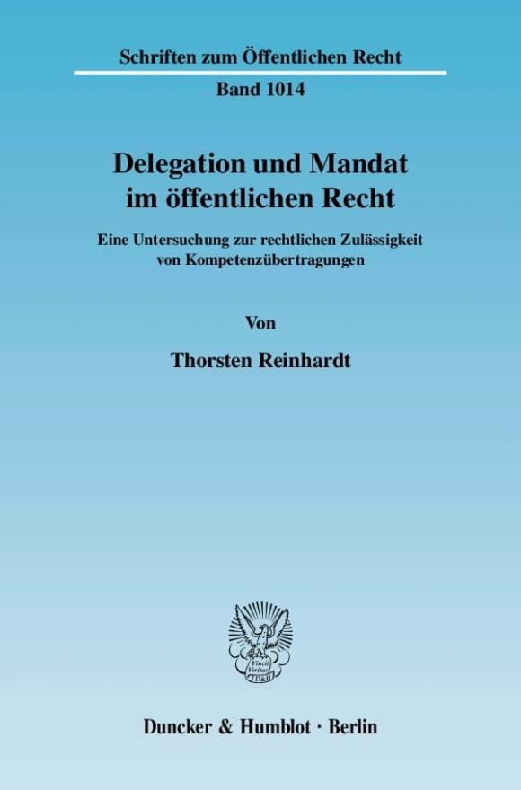 Cover Delegation und Mandat im öffentlichen Recht