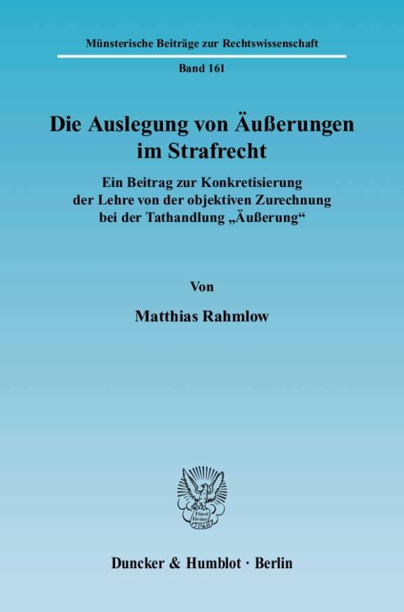 Cover Die Auslegung von Äußerungen im Strafrecht