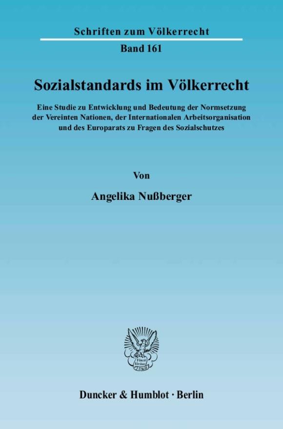 Cover Sozialstandards im Völkerrecht