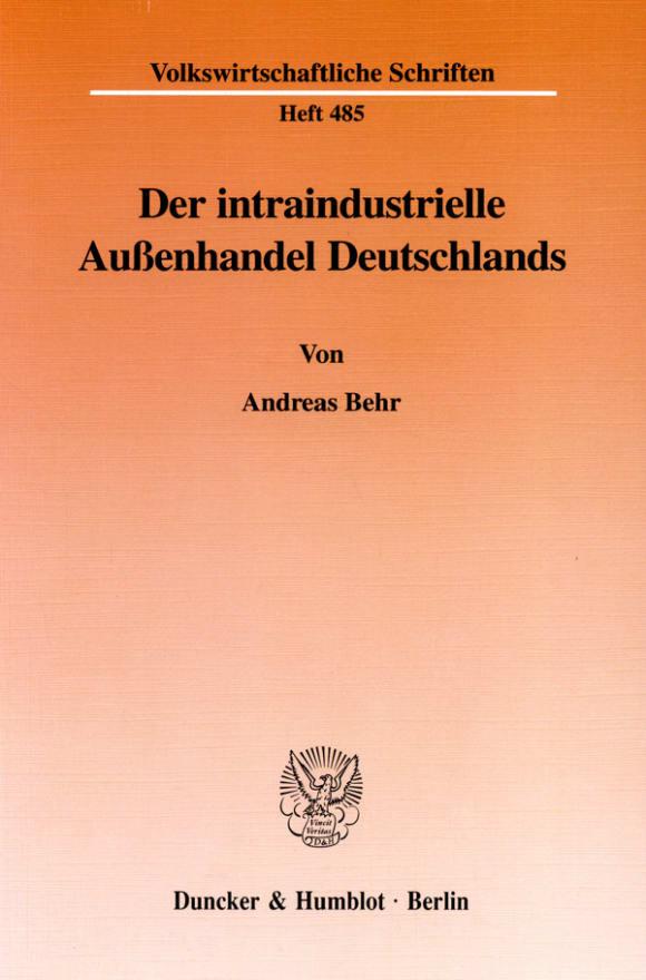Cover Der intraindustrielle Außenhandel Deutschlands