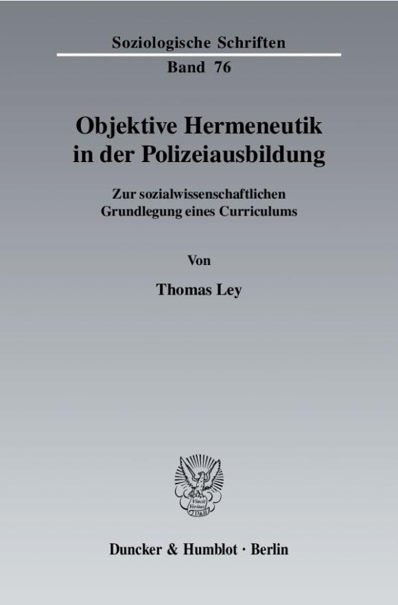 Cover Objektive Hermeneutik in der Polizeiausbildung