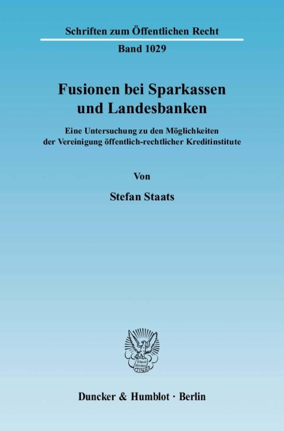 Cover Fusionen bei Sparkassen und Landesbanken