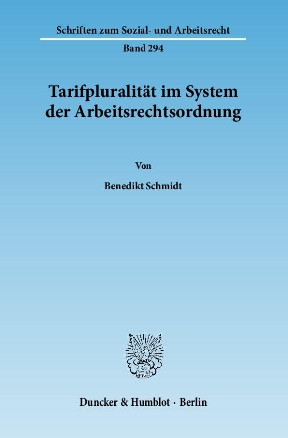Cover Tarifpluralität im System der Arbeitsrechtsordnung