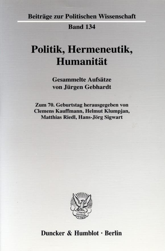 Cover Politik, Hermeneutik, Humanität